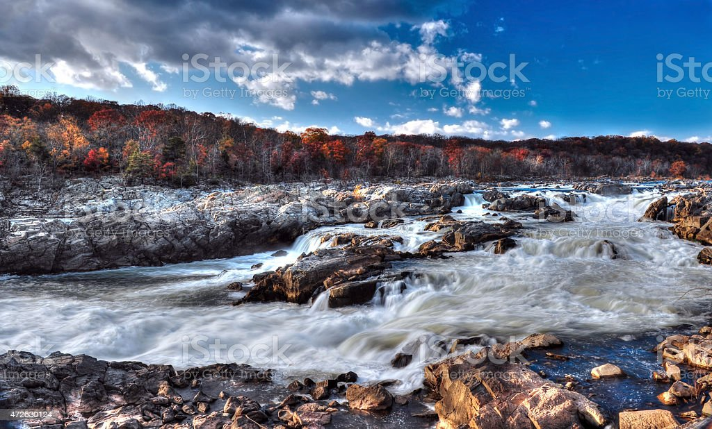 Great Falls Maryland Rapids and Waterfalls stock photo