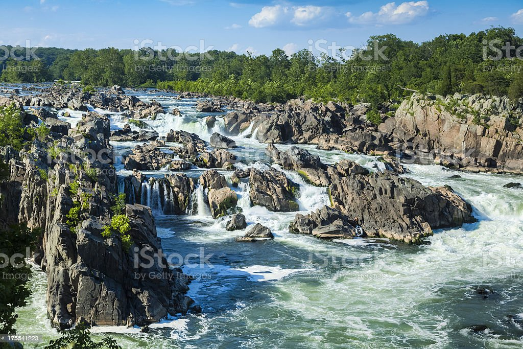 Great Falls of the Potomac with Water Rushing Around Rocks stock photo