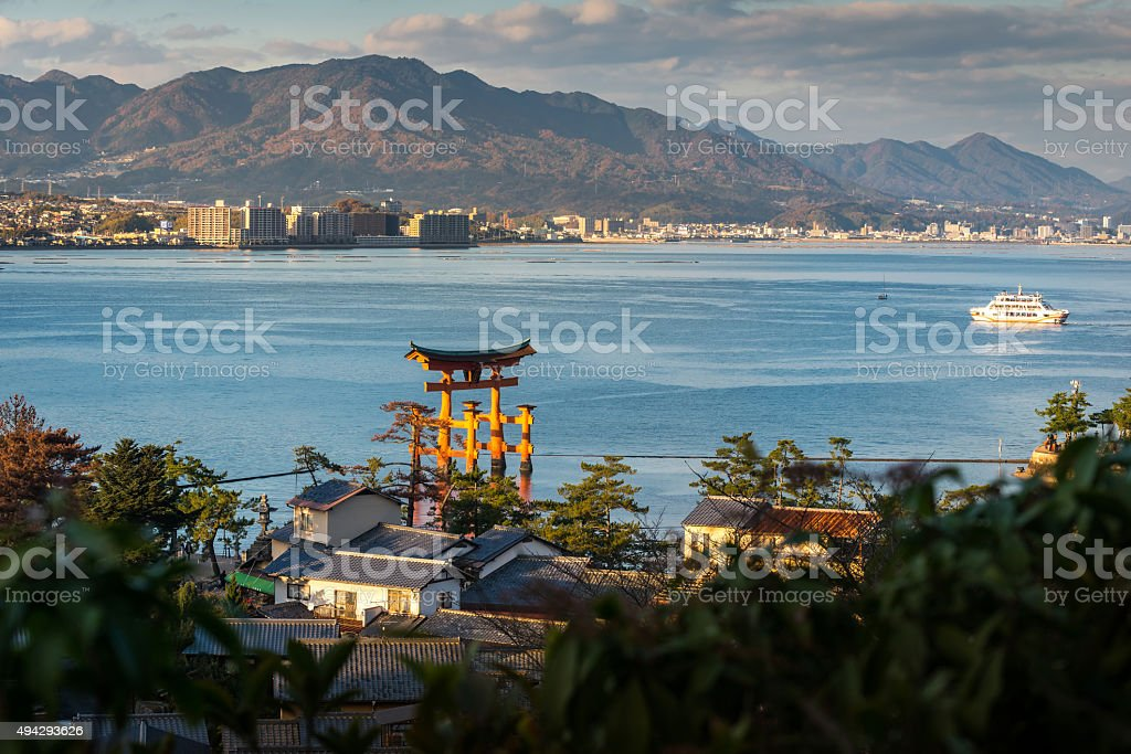 Great floating gate (O-Torii) and Hiroshima city view from Miyaj stock photo