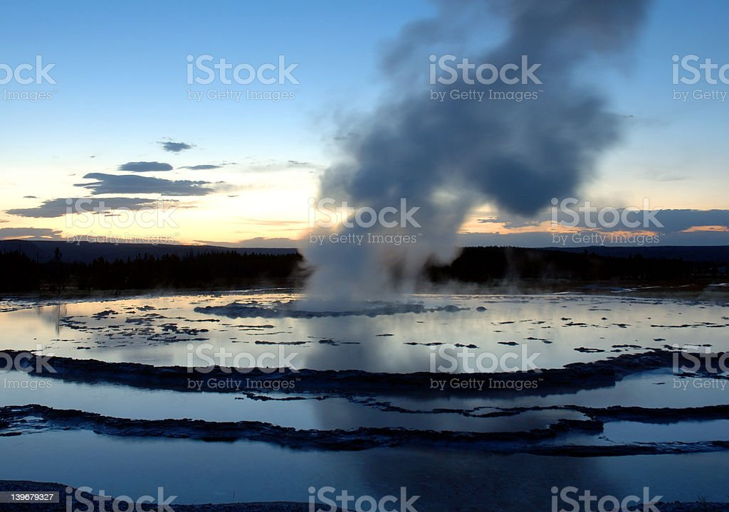 Great Fountain Geyser at Sunset stock photo
