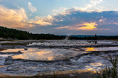 Great Fountain Geyser at sunset in Yellowstone