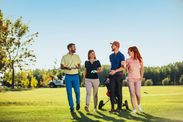 Great fun on the golf course stock photo