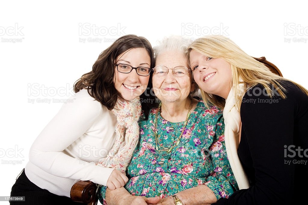 Great Grandma and her granddaughters XXL stock photo