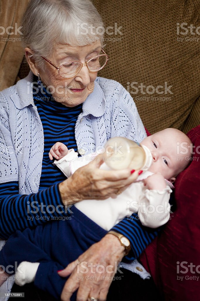 Great Grandmother and infant grand daughter, family royalty-free stock photo