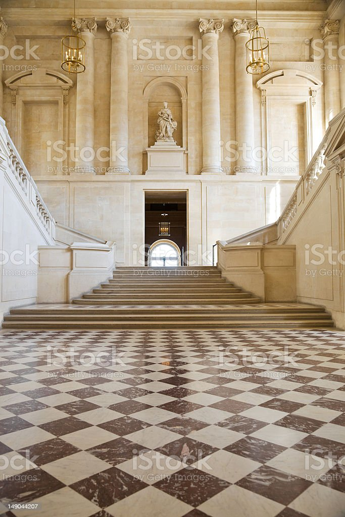 Great hall and staircase stock photo