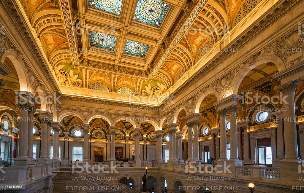 Great Hall Library of Congress, Washington, D.C. USA stock photo