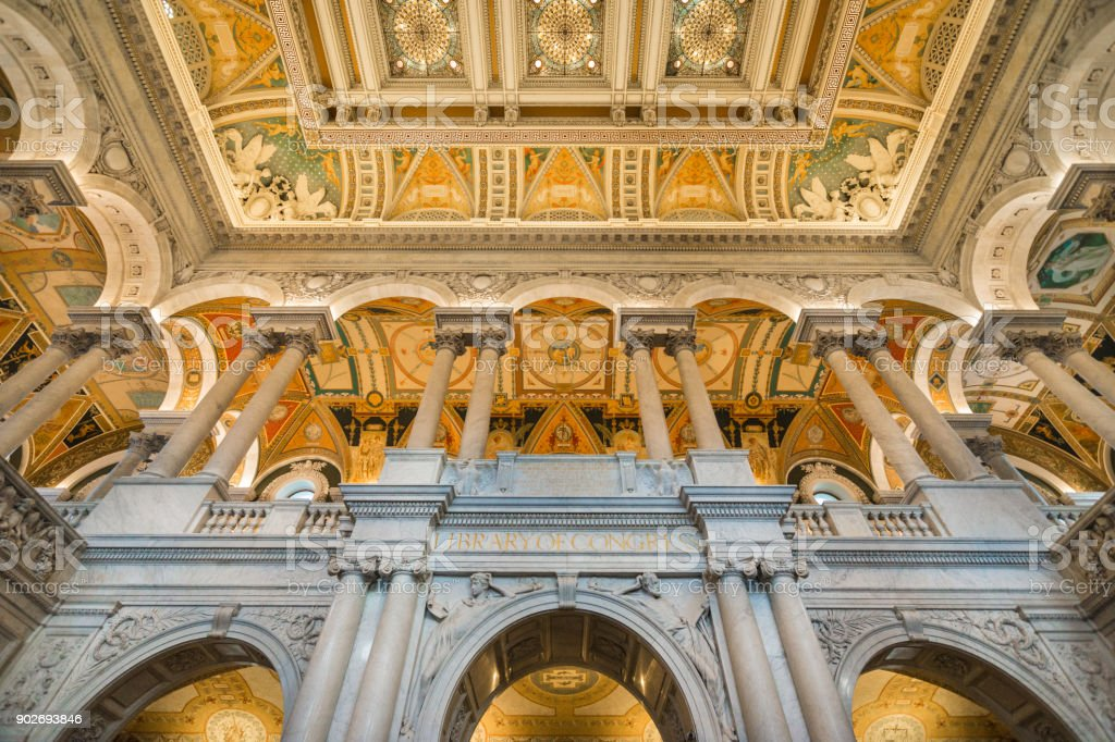 Great Hall of Library of Congress, Washington, D.C. USA stock photo