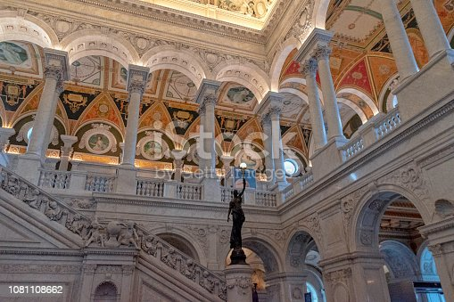 View of the upper balcony from the Great Hall of The Library of Congress