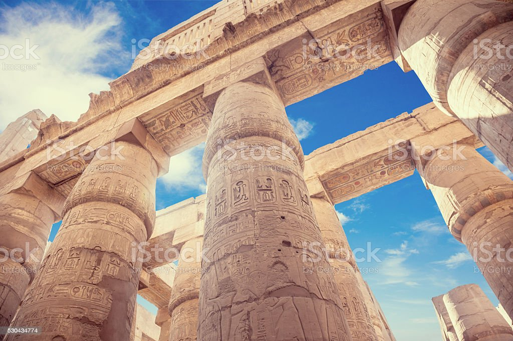 Great Hypostyle Hall and clouds at the Temples of Karnak stock photo