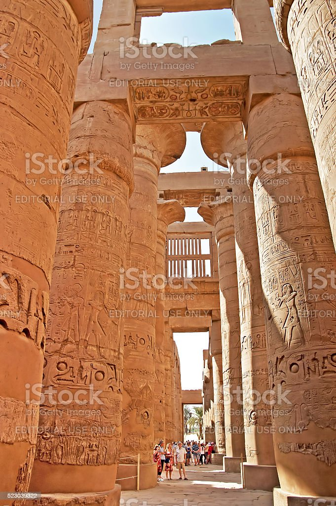 Great Hypostyle Hall at the Temples of Karnak, Luxor, Egypt stock photo