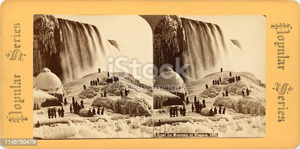 Great Ice Mountain at Niagara Falls (American Falls, New York, USA) 1883 stereograph card. Original 7 inch x 3.5 inch at 460 dpi.