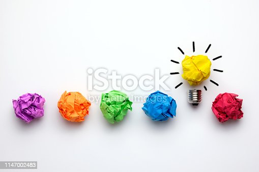 istock Great idea concept with crumpled colorful paper and light bulb 1147002483