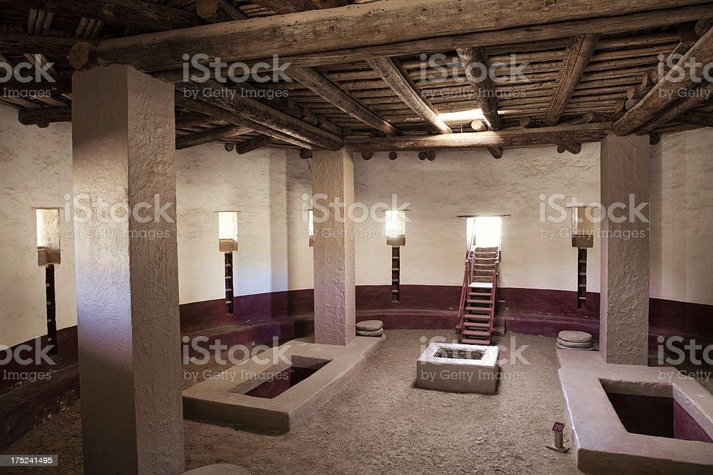 Great Kiva at Aztec Ruins National Monument stock photo