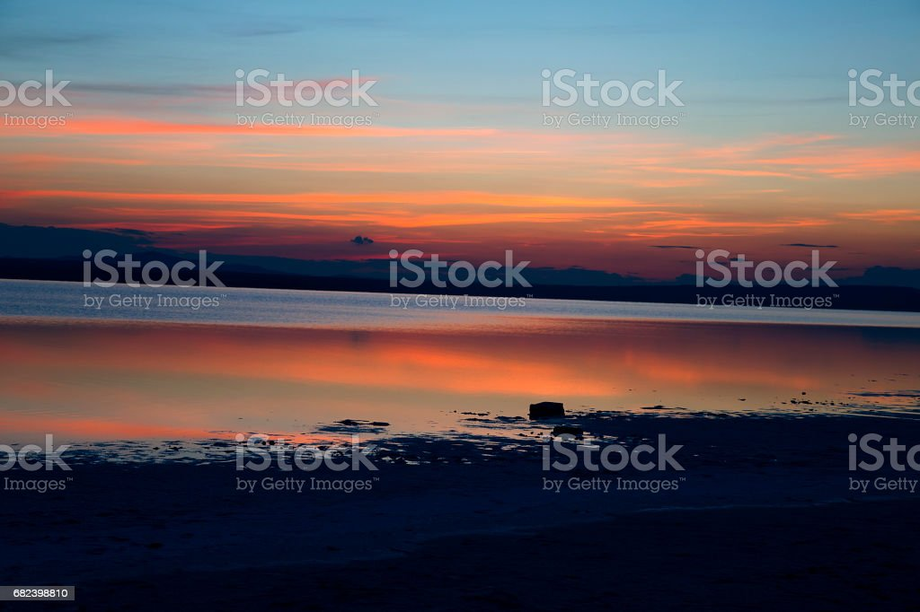 Great lake and sunset views. sea sunset and reflection royalty-free stock photo