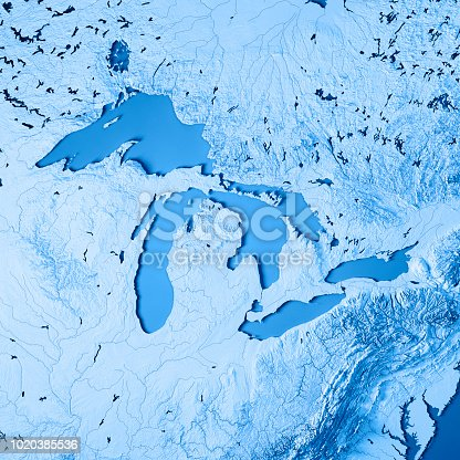171057063 istock photo Great Lakes 3D Render Topographic Map Blue 1020385536