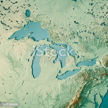 istock Great Lakes 3D Render Topographic Map Color 1020385600
