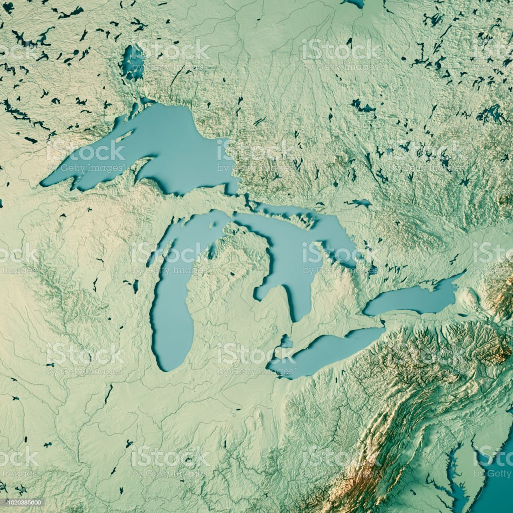 Great Lakes 3D-Render Topographische Karte Farbe – Foto