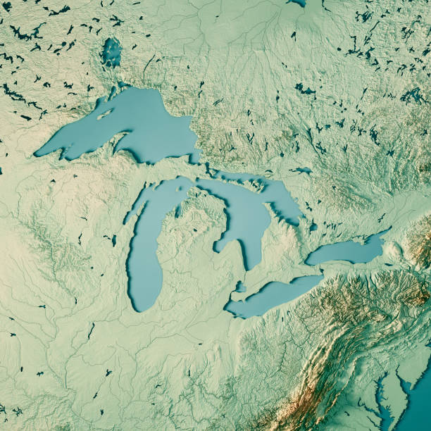 Great Lakes 3D Render Topographic Map Color stock photo
