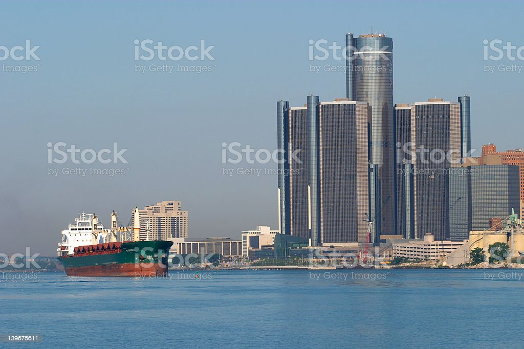Great Lakes Freighter and Detroit Renaissance Center royalty-free stock photo