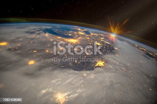 istock Great Lakes of North America at night, satellite view, The elements of this image furnished by NASA. 1062406060