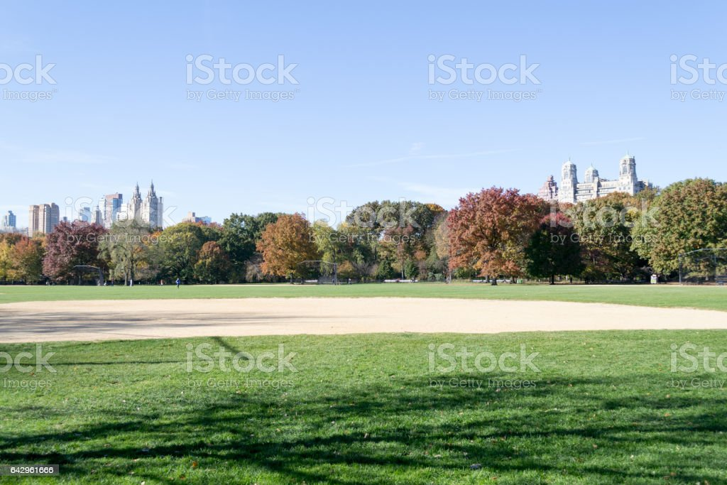 Great lawn in Central park during the fall season stock photo