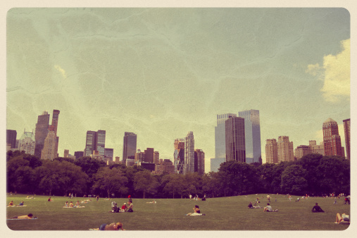 Retro-styled postcard of the Great Lawn in Central Park -- New York City. All artwork is my own. For hundreds of vintage postcards from around the world, click the banner below:
