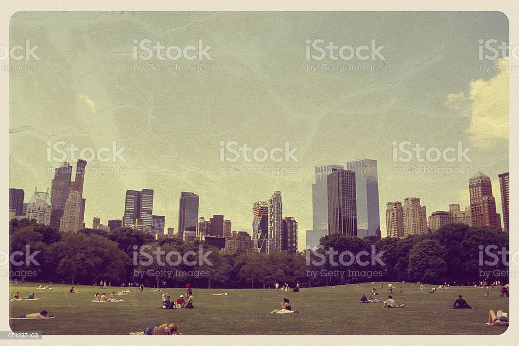 Great Lawn in Central Park - Vintage Postcard stock photo