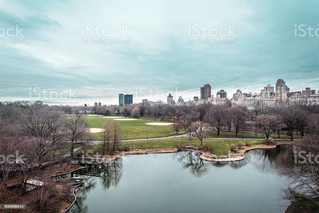 Great Lawn Oval at the Central Park in Manhattan, NYC stock photo