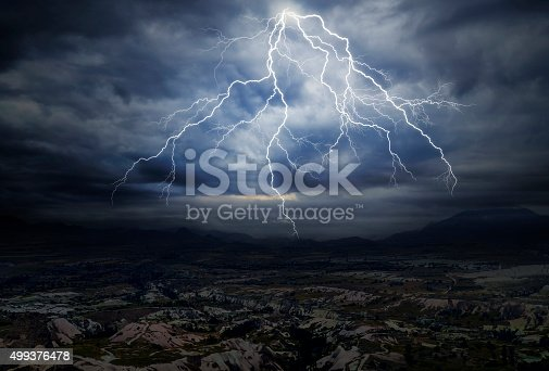 503731700 istock photo Great Lightning over the Mountains 499376478