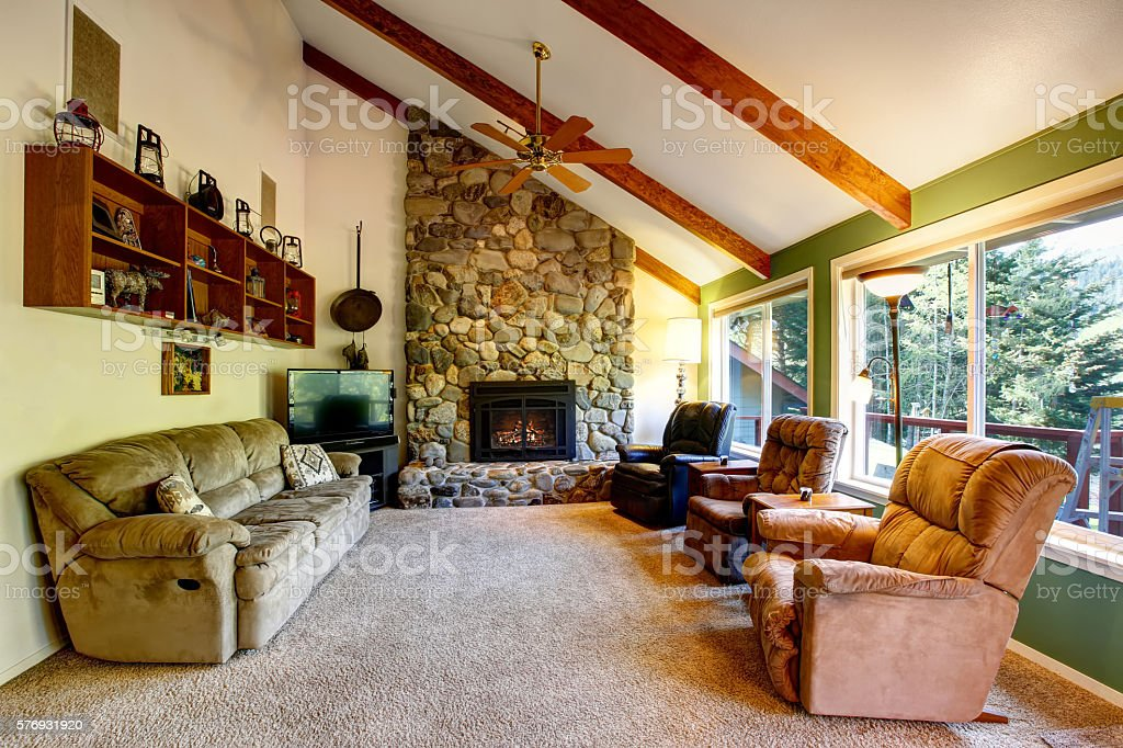 Great Living Room Interior In American Country House Stock Photo Download Image Now Istock
