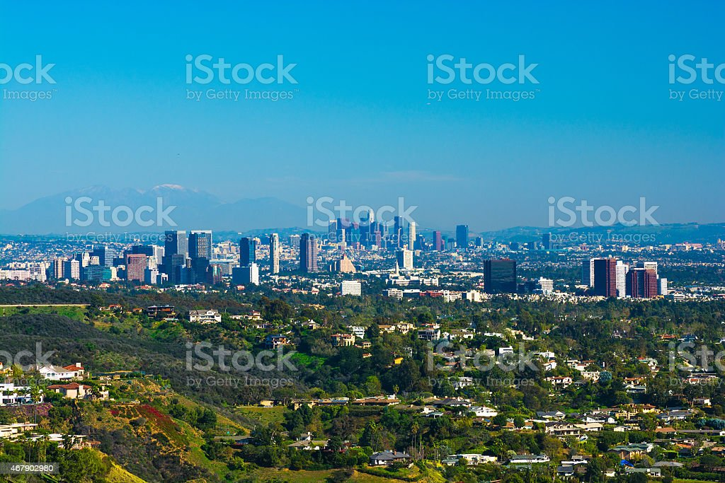 Great Los Angeles city aerial overview with Downtown and Westside stock photo