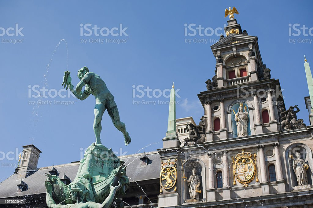 Great Market Square of Antwerp royalty-free stock photo
