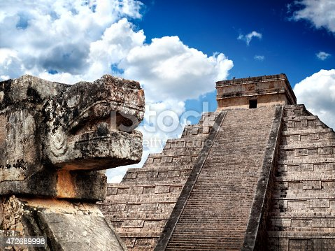 Mayan pyramid Chichen-Itza with Sacred Snake of Maya on foreground. Mexico. One of New7Wonders of the World. UNECSO World Heritage Sites.
