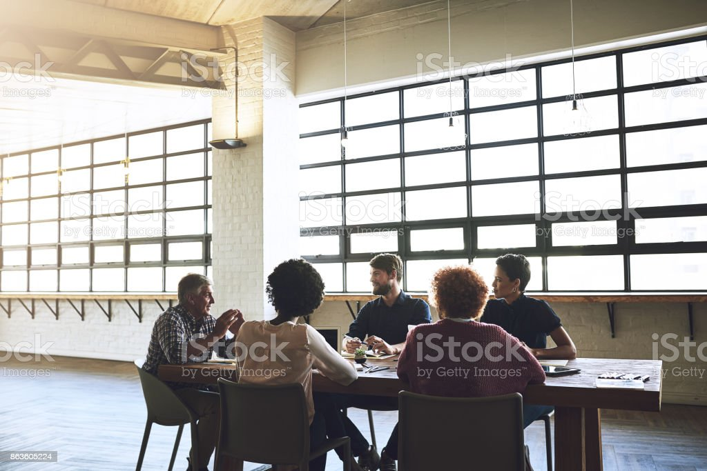 Great minds discuss ideas stock photo