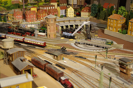 Great model railway system with locomotives and trains and houses