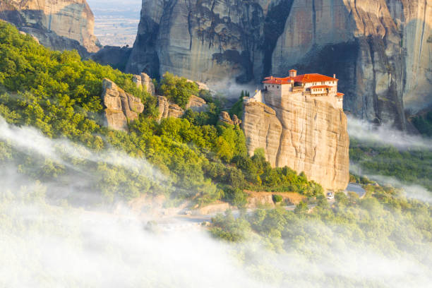 Great Monastery of Varlaam on the high rock in Meteora, Greece Great Monastery of Varlaam on the high rock in Meteora, Thessaly, Greece monastery stock pictures, royalty-free photos & images