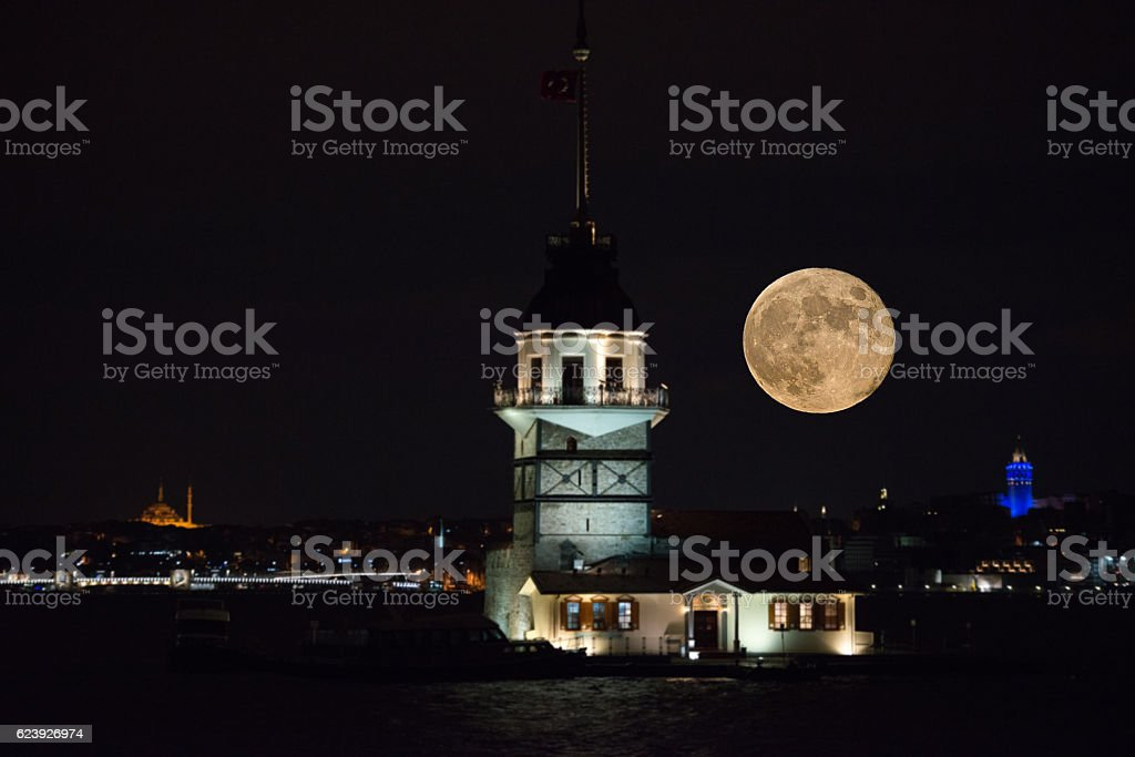 Great Moon with Istanbul Maiden's Tower, Galata Tower, Istanbul, Turkey. stock photo