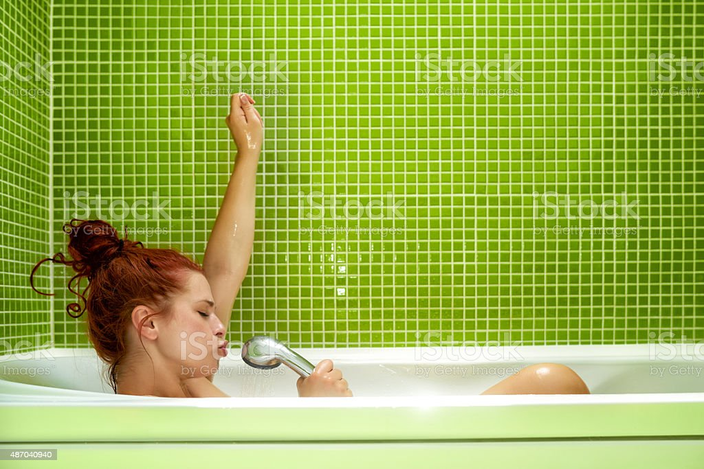 great music in bathtub stock photo