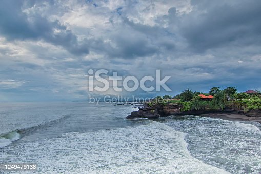 Great nature view of a beach in Tanah Lot Bali with waves hitting it during bad weather with negative space. Motion blur effect due to long exposure technique