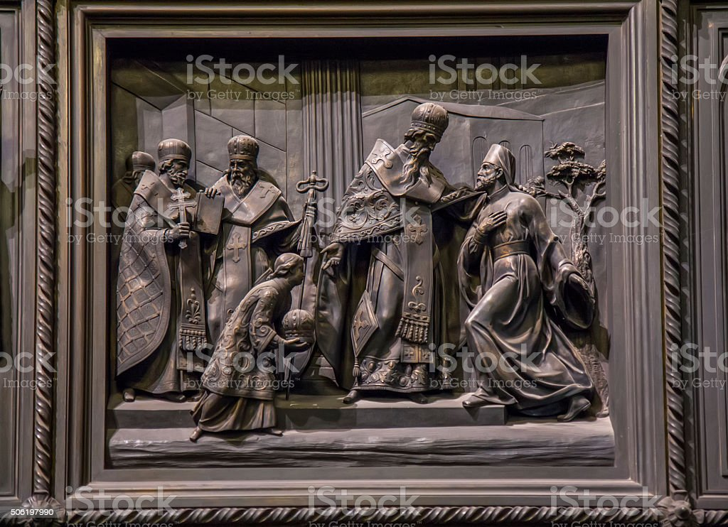 Great north door in Isaac cathedral - Saint Petersburg, Russia stock photo