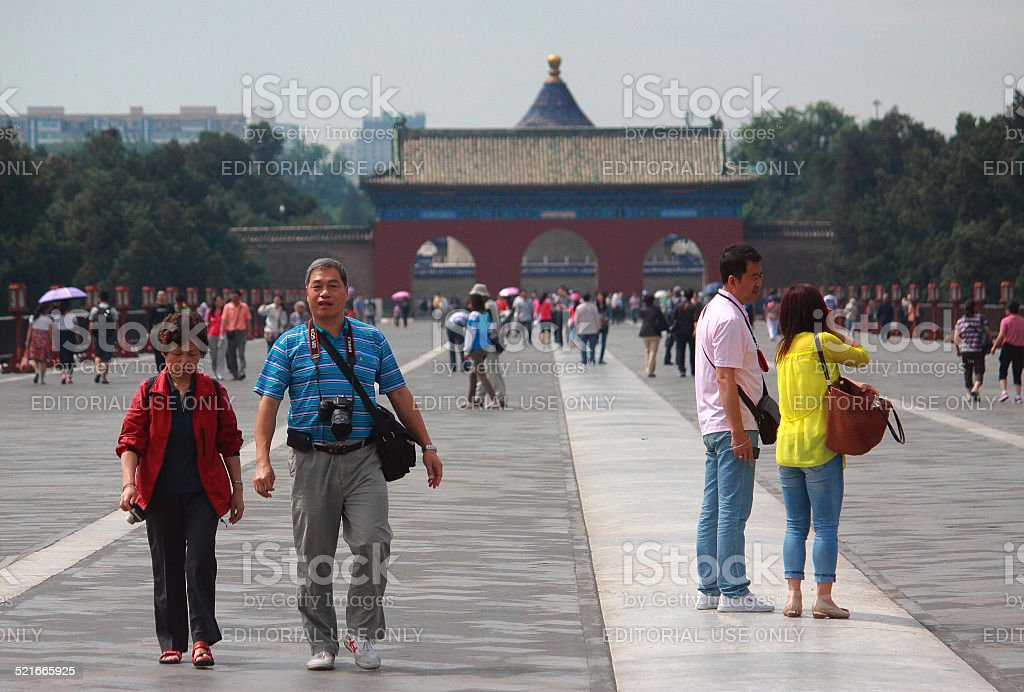 great number of chinese tourists about main entrance to Heavan stock photo