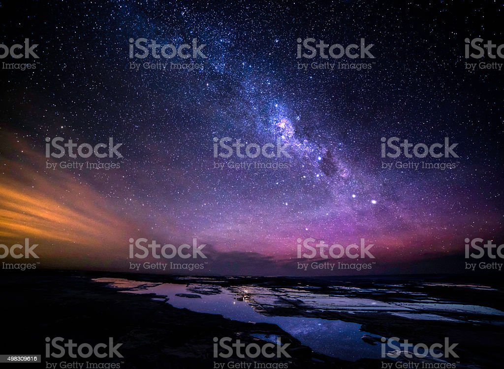 Great Ocean Road at night milky way view stock photo