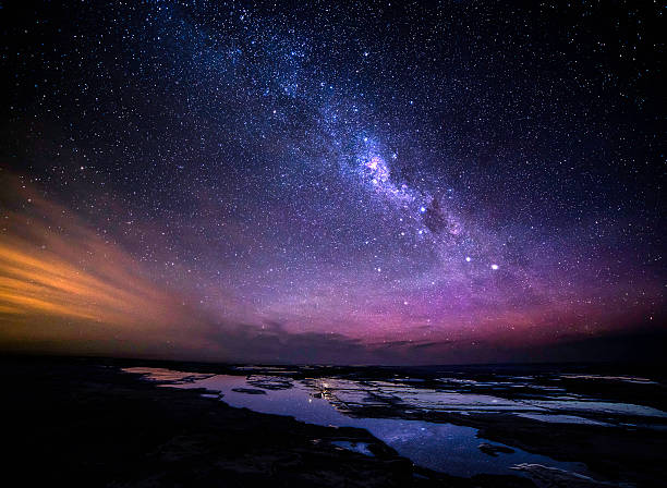 great ocean road at night milky way view - star shape stock photos and pictures
