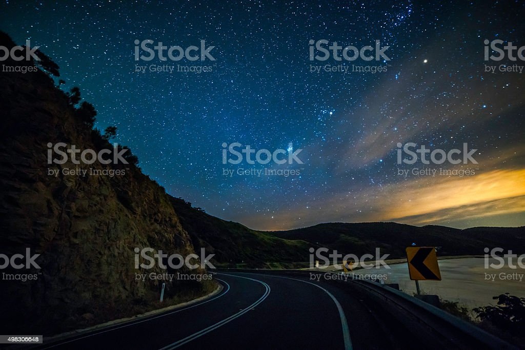 Great Ocean Road at night stars view stock photo