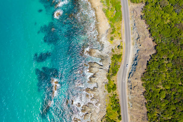 Great Ocean Road in Australia Top down aerial view of Great Ocean Road in Australia australia stock pictures, royalty-free photos & images