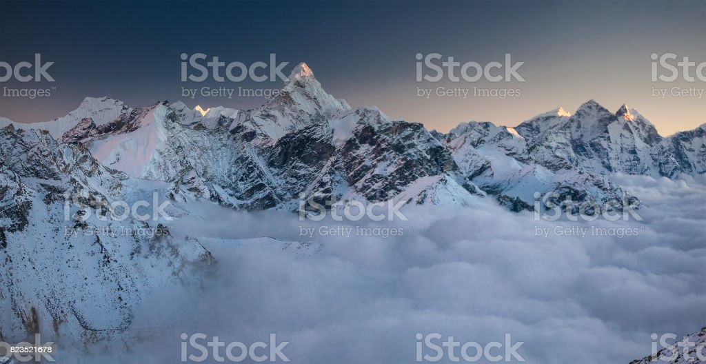 Great panoramic landscapes of the Himalayas in the Khumbu Valley in Nepal stock photo