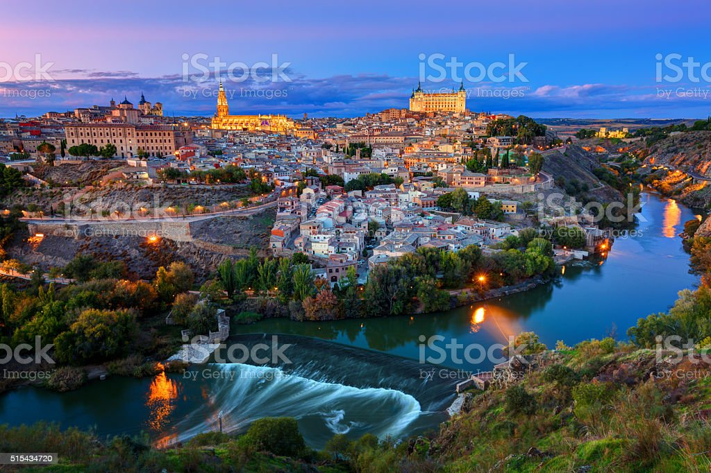 Great panoramic of historic city of Toledo at sunset, Spain stock photo