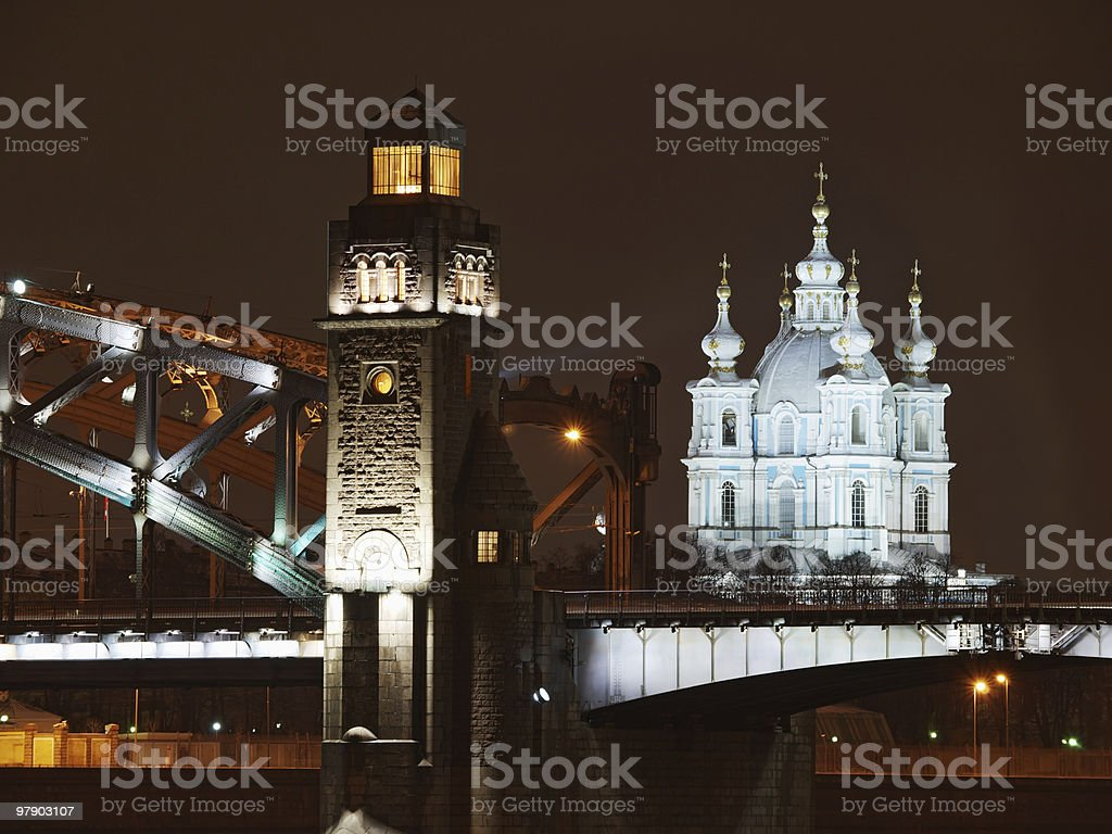 Great Piter bridge and cathedral royalty-free stock photo
