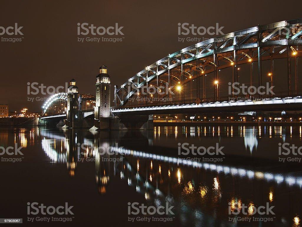 Great Piter bridge in night royalty-free stock photo