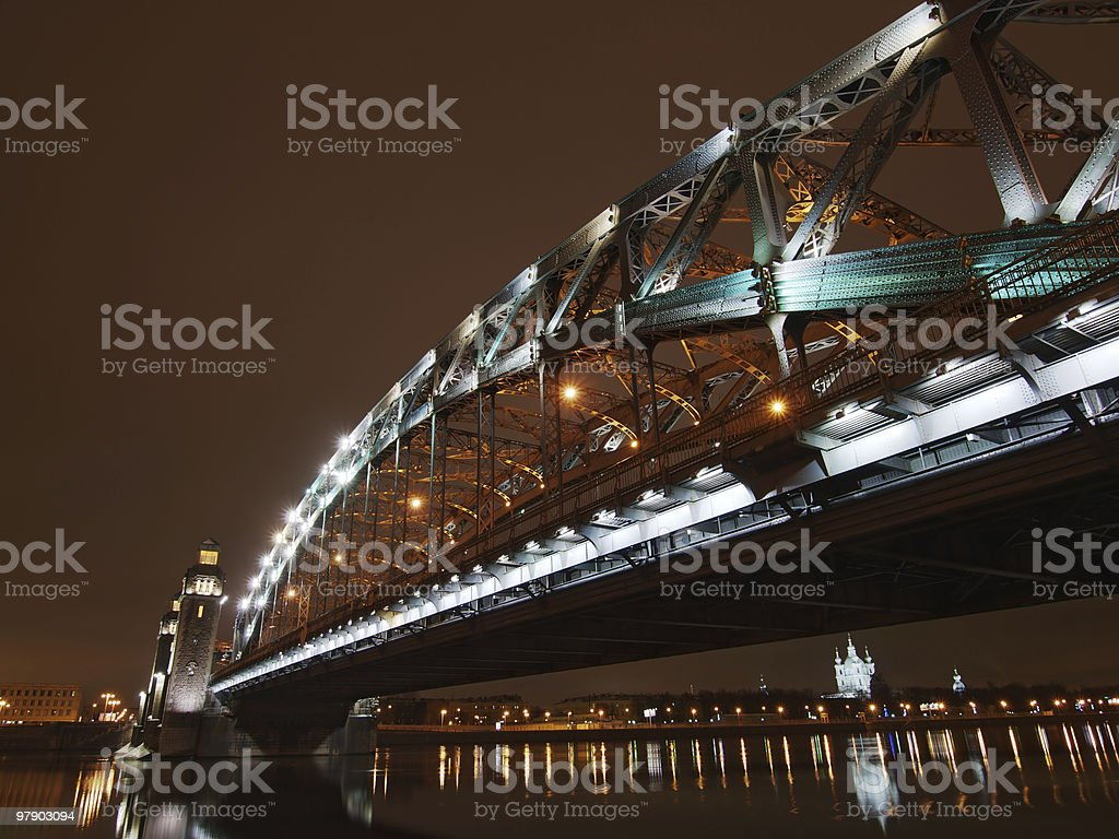 Great Piter bridge in perspective royalty-free stock photo